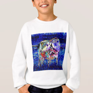 Bovine in blue sweatshirt