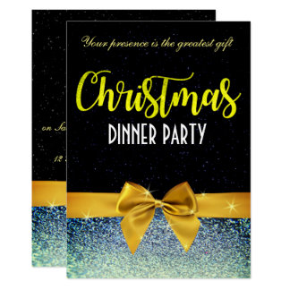 Bow and Glittery Christmas Dinner Invite