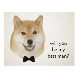 Bow and tie funny shiba inu dog illustration postcard