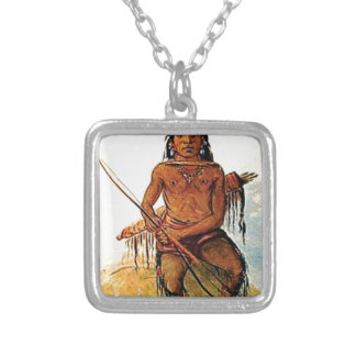 bow armed warrior silver plated necklace