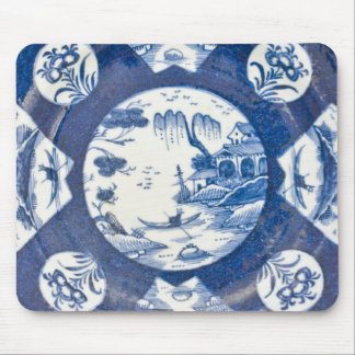 Bow blue & white Chinese Landscapes, C. 1770 Mouse Pad