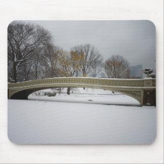 Bow Bridge, Winter Landscape, New York City Mouse Pads