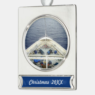Bow Business Dated Silver Plated Banner Ornament
