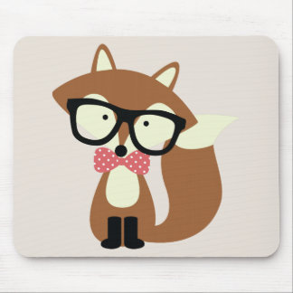 Bow Tie and Glasses Hipster Brown Fox Mouse Pad