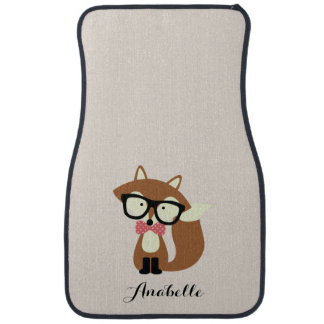 Bow Tie and Glasses Hipster Brown Fox Personalized Floor Mat