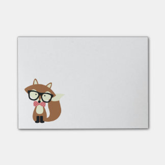 Bow Tie and Glasses Hipster Brown Fox Post-it Notes