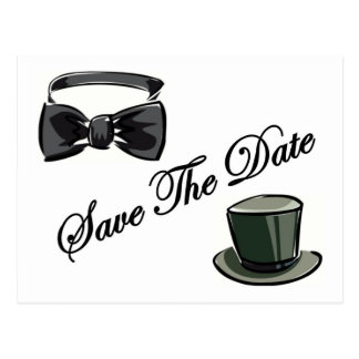 Bow Tie and Top Hat Save The Date Postcard