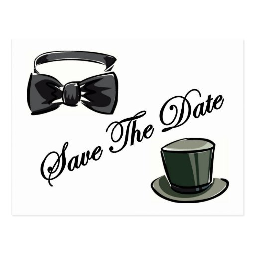 Bow Tie and Top Hat Save The Date Postcards