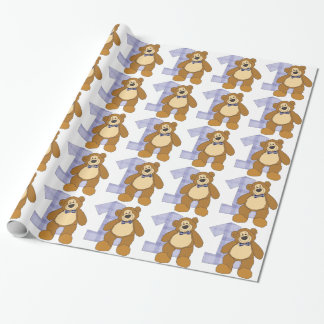 Bow Tie Brown Teddy Bear with Number 1 Wrapping Paper