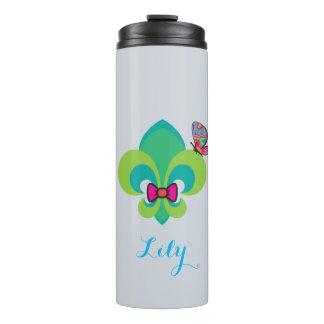 Bow-tie & butterfly fleur de lis thermal tumbler