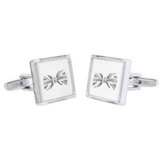 Bow Tie Cuff Links Silver Finish Cufflinks