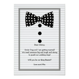 Bow Tie Identity Gray Ring Bearer Request Card 13 Cm X 18 Cm Invitation Card