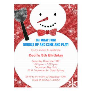 Bow tie Snowman Kids Winter Birthday Party Postcard