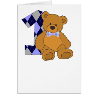 Bow Tie Teddy Bear with Number 1 Card