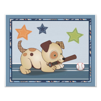 Bow Wow Puppy Buddies Baseball Dog Nursery Art Photo Art