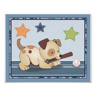 Bow Wow Puppy Buddies Baseball Dog Nursery Art Photo
