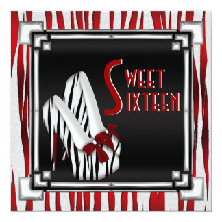 Bowed Zebra Stiletto Heel Red Black White Sweet 16 Card