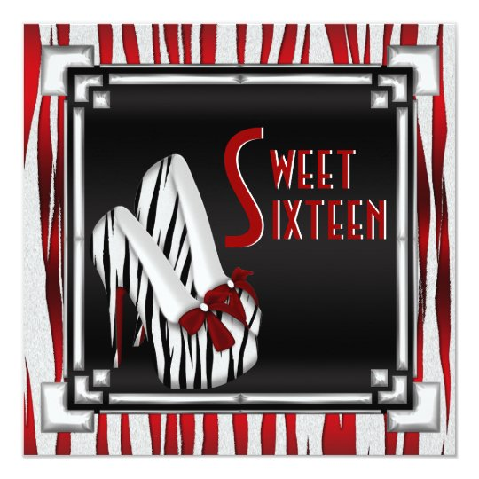 Bowed Zebra Stiletto Heel Red Black White Sweet 16 Card