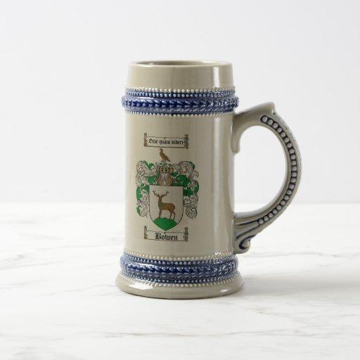 Bowen Coat of Arms Stein / Bowen Family Crest Coffee Mugs