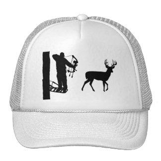 Bowhunter in Treestand Shooting Deer Cap