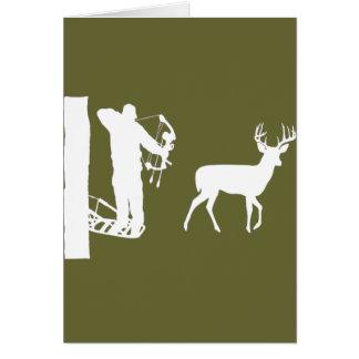 Bowhunter in Treestand Shooting Deer Greeting Cards