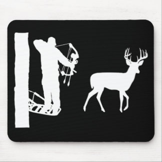 Bowhunter in Treestand Shooting Deer Mouse Pads