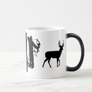 Bowhunter in Treestand Shooting Deer Coffee Mugs