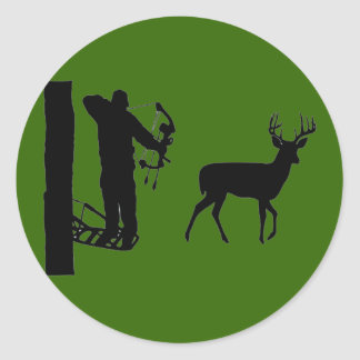 Bowhunter in Treestand Shooting Deer Round Sticker