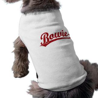 Bowie script logo in red sleeveless dog shirt