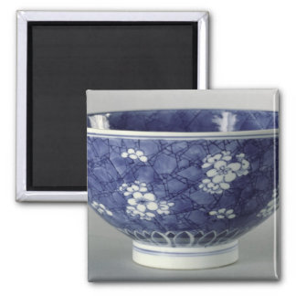 Bowl decorated with cherry blossom square magnet