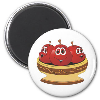 Bowl full of Cherries Cartoon 6 Cm Round Magnet