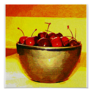 Bowl Full of Fresh Cherries Posters