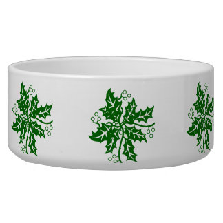 Bowl - Green Holly Clusters Pet Food Bowl