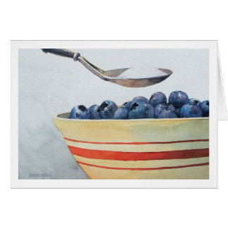 """"""" BOWL OF BLUEBERRIES WITH SUGAR """" CARD"""