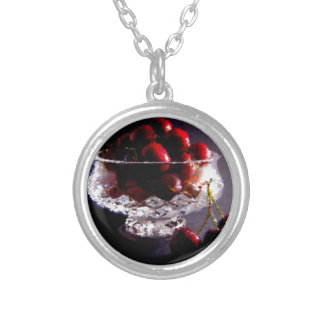 Bowl of Cherries Abstract Silver Plated Necklace
