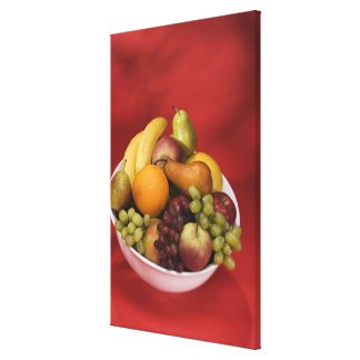 Bowl of fresh fruits stretched canvas print