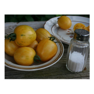 Bowl of Home Grown Yellow Topaz Tomatoes Postcard