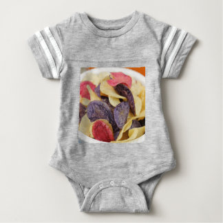 Bowl of Mixed Potato Chips Close-Up Baby Bodysuit