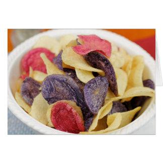 Bowl of Mixed Potato Chips Close-Up Card