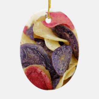 Bowl of Mixed Potato Chips Close-Up Ceramic Ornament
