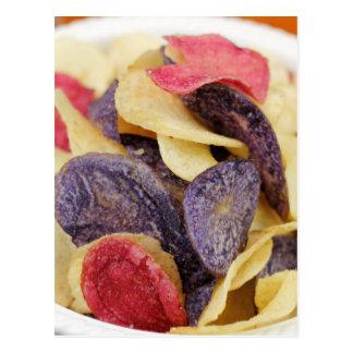 Bowl of Mixed Potato Chips Close-Up Postcard