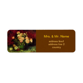Bowl of Peonies and Rose,Vincent van Gogh.  World Return Address Label