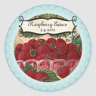 Bowl of raspberries fruit jam jelly canning label round sticker