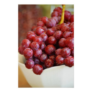 Bowl of Red Grapes Poster