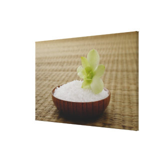 Bowl of rice with a flower on a tatami mat stretched canvas prints
