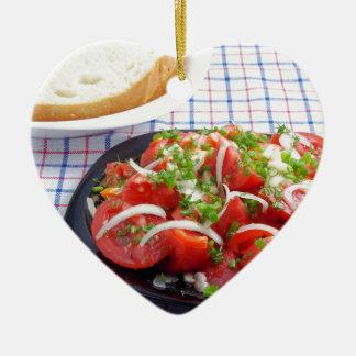 bowl of vegetarian salad ceramic heart decoration