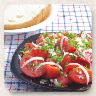 bowl of vegetarian salad drink coasters