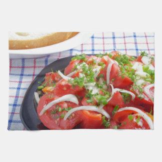 bowl of vegetarian salad kitchen towels