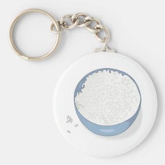 bowl of white rice key ring