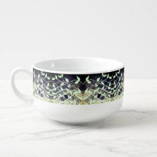 Bowl with Leaf Print In Greens